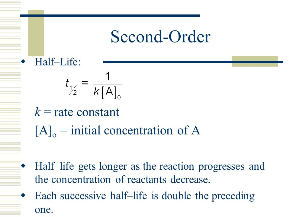 Second-Order k = rate constant [A]o = initial concentration of A